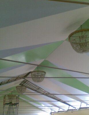 Многоуровневые натяжные потолки в гостинной