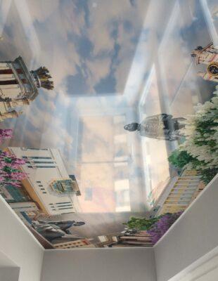 Фото и цены натяжных потолков 3D в гостинную