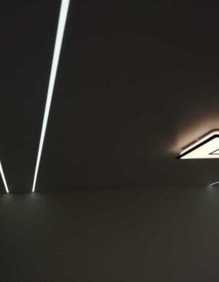 Заказать натяжной потолок со световыми линиями в прихожую