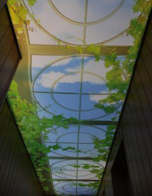 Печать на натяжных потолках для кухни