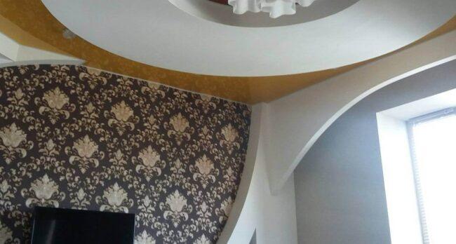Матовый белый бесщелевой натяжной потолок профиль КРААБ 4.0 7.2 кв. м.