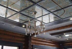 Установка натяжных потолков в кафе Рица