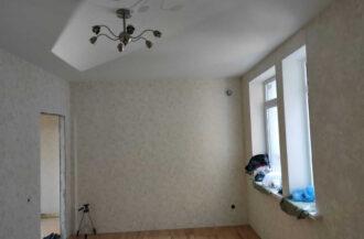 Монтаж белого матового натяжного потолка 16 кв. м.
